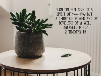 """God did not give us a Spirit of timidity, but a spirit of power and of love and of a well-balanced mind."""