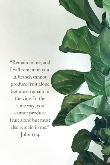 """Remain in me, and I will remain in you. A branch cannot produce fruit alone but must remain in the vine. In the same way, you cannot produce fruit alone but must also remain in me."""
